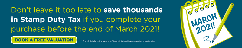 Save thousands in Stamp Duty Tax if you complete before the end of March 2021